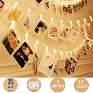 Weepong 40 LED photo clips strings lights