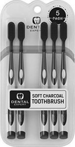 5 Pack Charcoal Toothbrush [GENTLE SOFT] Slim Teeth Head Whitening Brush for Adults & Children