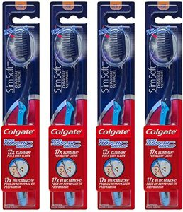 Colgate Slim Soft Charcoal Toothbrush 17x Slimmer Tip Soft Bristles - Pack of 4