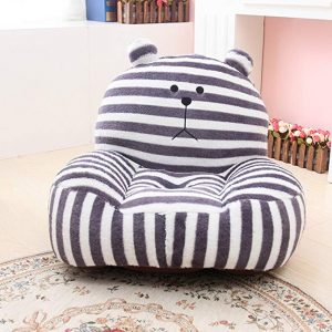 MAXYOYO Super Cute Grey Striped Bear Stuffed Plush Toy Bean Bag Chair