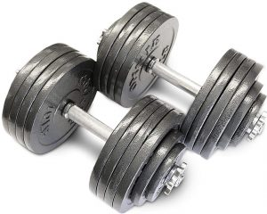 Omnie Adjustable Dumbbells with Gloss Finish and Secure Fit Collars