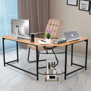 Tangkula L-shaped Desk Smooth Top Home Office Workstation Modern Study Laptop Desk with CPU Stand