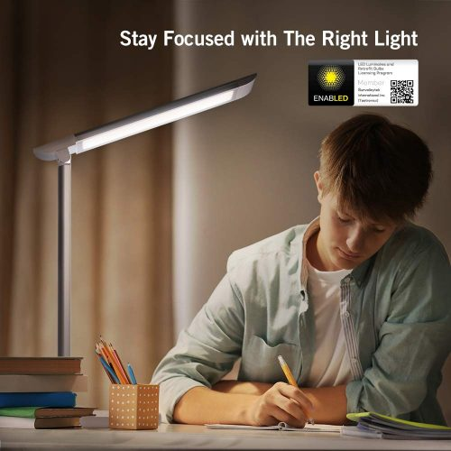 TaoTronics LED Desk Lamp, Eye-caring Table Lamps, Dimmable Office Lamp with USB Charging Port