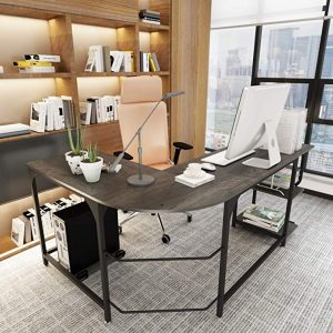 Teraves Reversible L-Shaped Desk is a home office desk which can be used as a computer desk, gaming table workstation and more.