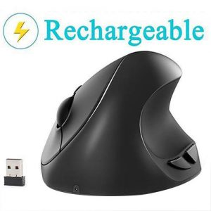 Vertical mouse, 7 lucky small rechargeable ergonomic wireless mouse by Lekvey