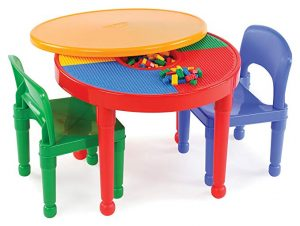 Tot Tutors kids 2-in-1 plastic building blocks-compatible activity  table