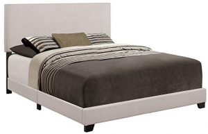 Crown Mark Upholstered Panel bed in Stone Khaki