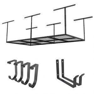 FLEXIMOUNTS 4×8 Overhead Garage rack with add-on hooks