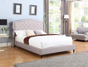 HomeLife cloth light grey silver king-size bed