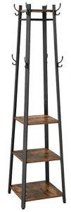VASAGLE industrial coat rack with 3 shelves