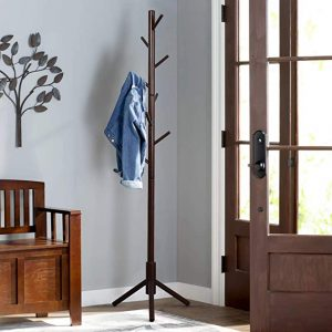 Vlush Sturdy wooden coat rack stand, brown color