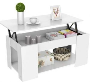 Yaheetech white lift-up coffee table with storage