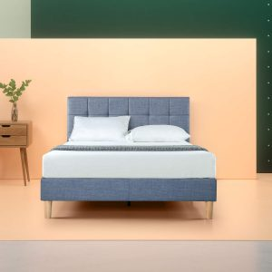 Zenus Lottie Upholstered square stitched platform bed