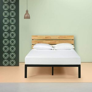 Zenus Paul Metal and Wood platform bed