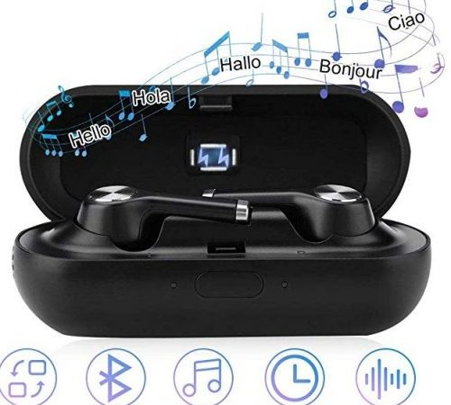 Fosa translator earbuds with gift charging box, black color