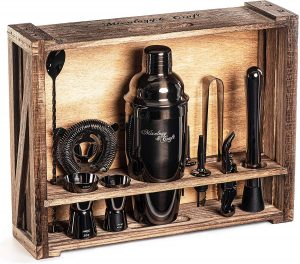 Mixology Bartender Kit comes with 11-Piece Black Bar Set Cocktail shaker tools and Rustic Wood Stand