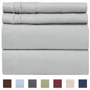 Queen size sheet set- 4 piece set by CGK Unlimited, gray color