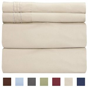 Queen size sheet set-4 piece set by CKG Unlimited, beige tan color