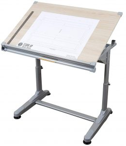 Stand Up Desk Store height adjustable drawing and drafting table, silver