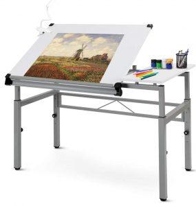 Tangkula adjustable drafting table with side shelf white