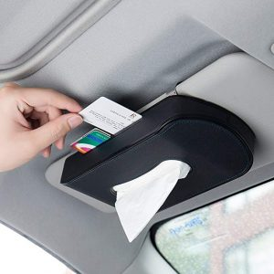 Mr. Ho Black Leather car visor tissue holder