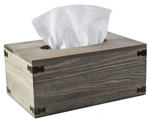 MyGift Distressed wood tissue box holder