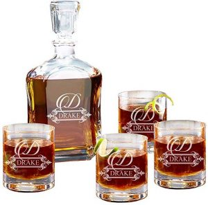 Personalized 5 pc whiskey decanter set by My Personal Memories