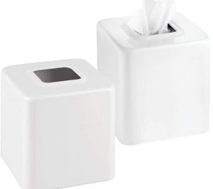 mDesign Modern square metal paper tissue box holder