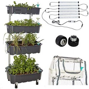 Altifarm Combo Home Farm: Vertical Raised Bed Elevated Garden Self-Watering Planter Kit (4 Tier, Grey) Plus Expansion Packs : Altifarm Grow System + LED Grow Lights + Greenhouse Cover + Wheel Kit