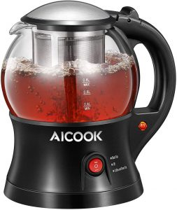 Electric Teapot, AICOOK Cordless Tea Pot Kettle with Removable Tea Infuser Set