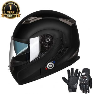FreedConn Bluetooth Motorcycle Helmets Integrated Modular Flip up Dual Visors Full Face Built-in Bluetooth Intercom Communication Range
