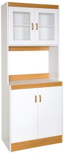 Home Source Industries - 153BRD - Tall Kitchen Microwave Cart - Cabinets, Shelf and Glass Doors - White