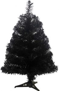Jackcsale 2 Foot Artificial Christmas Tree Xmas Pine Tree with PVC Leg Stand Base Holiday Decoration Black
