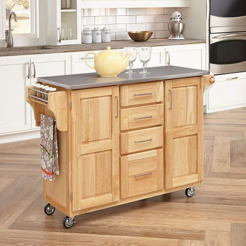 Kitchen Cart with Breakfast bar & Stainless Steel Top