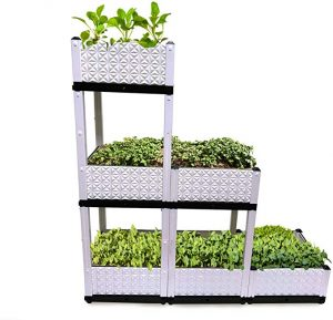 Raised Garden Bed, Vertical Garden, 6 Container Boxes of 15x15x9in, Elevated Planters to Grow Vegetables, Herbs, Plants & Flowers, Plastic Stand for Indoor & Outdoor Patio, Multiple Combinations.