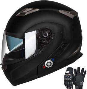 Motorcycle Bluetooth Helmets, FreedConn Flip up Dual Visors Full Face Helmet Built-in Integrated Intercom Communication System large