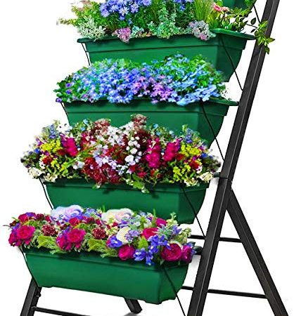 4-Ft Raised Garden Bed - Vertical Garden Freestanding Elevated Planters 5 Container Boxes