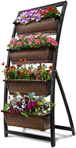 6-Ft Raised Garden Bed - Vertical Garden Freestanding Elevated Planter with 4 Container Boxes