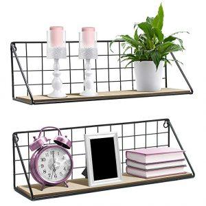 Sorbus floating shelves wall-mounted rustic wood storage set