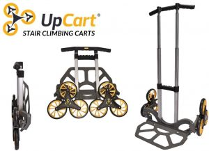 The UpCart Stair Climbing Hand Truck is a foldable card which can help you lift up to 200lbs up and down the stairs.