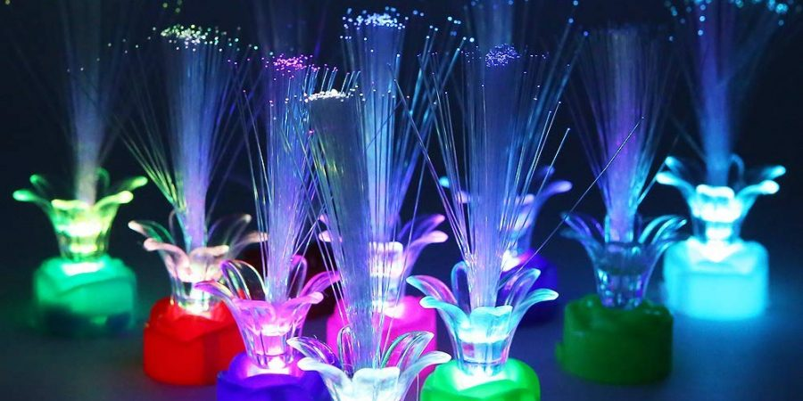 Apol Colorful Fiber Optic LED Rose Light,Changing Flash Light Set 10