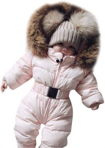 Franterd Baby Girls Boys Romper Down Jacket Hooded Jumpsuit