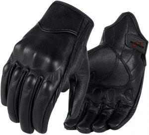 Full finger Goat Skin Leather Touch Screen Motorcycle Gloves Men
