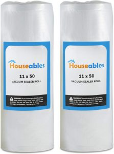 Houseables Vacuum Sealer Rolls, Sous Vide Bags, Two (2), Large 11 Inch x 50 Ft, Commercial Grade Plastic