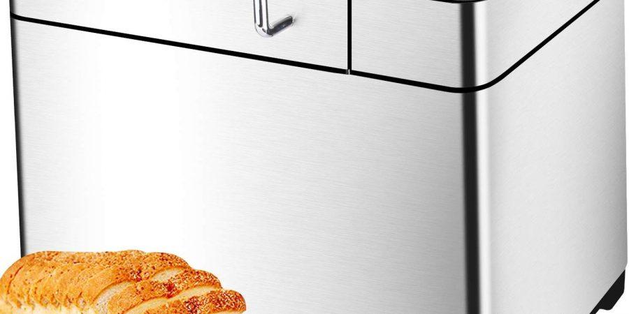 KBS Stainless Steel Bread Machine,1500W 2LB 17-in-1 Programmable XL Bread Maker