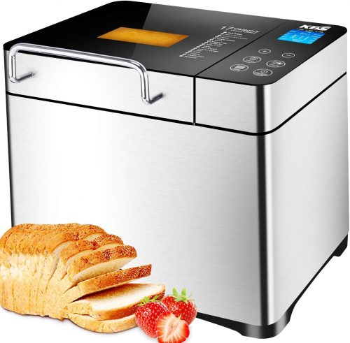 KBS Stainless Steel Bread Machine,1500W 2LB 17-in-1 Programmable XL Bread Maker