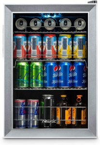 NewAir AB-850 Beverage Cooler and Refrigerator, Small Mini Fridge with Glass Door