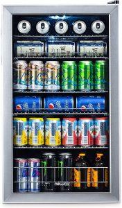 NewAir Beverage Cooler and Refrigerator, Mini Fridge with Glass Door