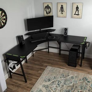 RESPAWN 2010 Gaming Computer Desk, L-Shaped Desk, in Green