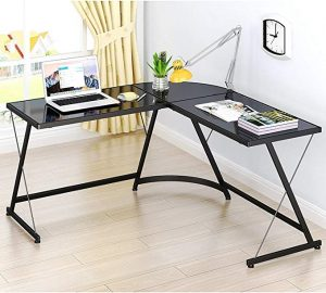 SHW L-Shape Corner Desk is good for both professional work and gaming.
